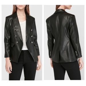 Express Black Faux Leather Double Breasted Blazer
